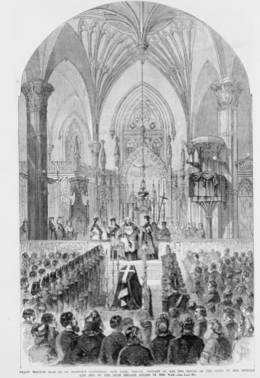 The Grand Requiem Mass held in St. Patrick's Cathedral to honour the dead of the Irish Brigade (Library of Congress)
