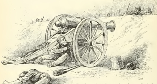 Private Patrick Ginley fires at advancing Confederates, Battle of Ream's Station (Story of American Heroism)