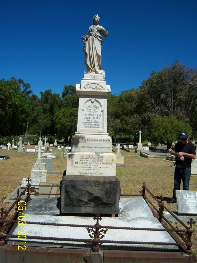 The grave of John Joseph Davies, Karrakatta Cemetery, Perth, Western Australia (Angela Gallagher)