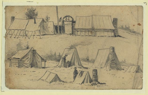 Patrick O'Dea wrote to his mother money from a camp such as this in January 1863 (Winter Camp of the 16th Michigan, 1863 by Edwin Forbes, Library of Congress)
