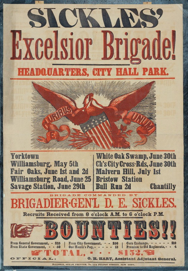 Recruiting Poster for the Excelsior Brigade (Civil War Treasures from the New York Historical Society)