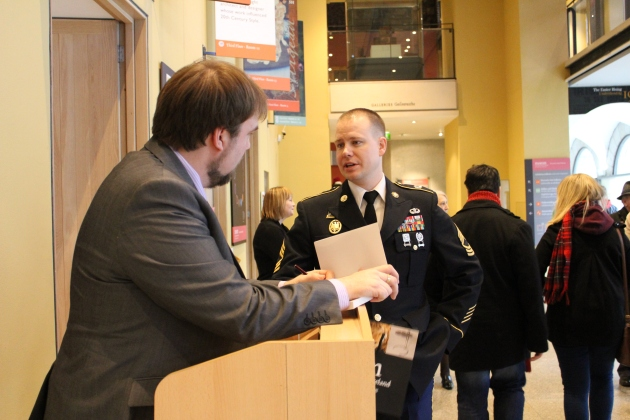 Yours truly chatting with MSG Sands from the United States Embassy; I was deeply honoured that he was able to attend