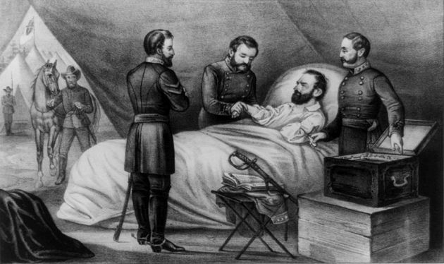 Stonewall Jackson lies mortally wounded. Was Irishman Felix Brannigan present when the famous General was hit? (Currier & Ives)