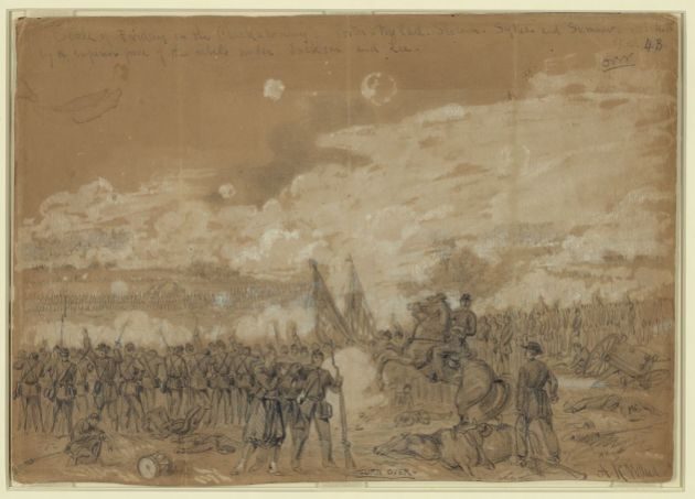 The Battle of Gaines' Mill, 1862, where Bernard Quinn and other U.S. Regulars Excelled (Alfred Waud, Library of Congress)
