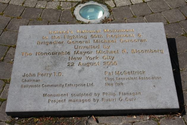 Plaque at the Corcoran Memorial, Ballymote, Co. Sligo