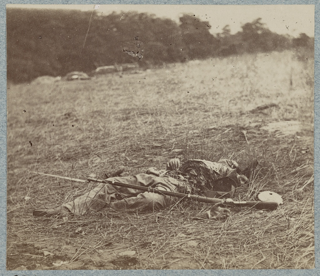 Federal Soldier Disembowelled by a Shell, Rose Woods, near The Wheatfield (Library of Congress)