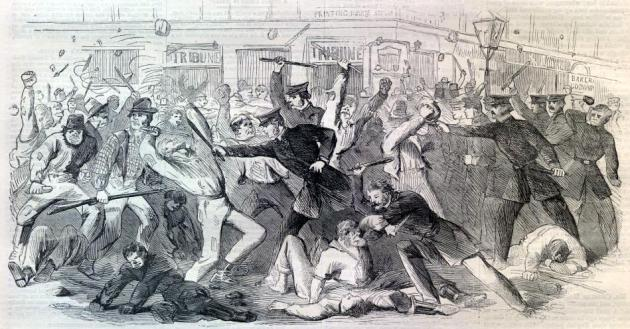 Police Charge the Rioters at the Tribune Office (Library of Congress)
