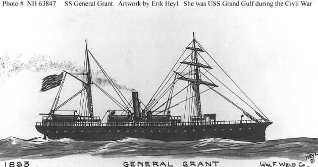 The U.S.S. Grand Gulf as she appeared after the war, when she had been renamed the S.S. General Grant (Naval History and Heritage Command)