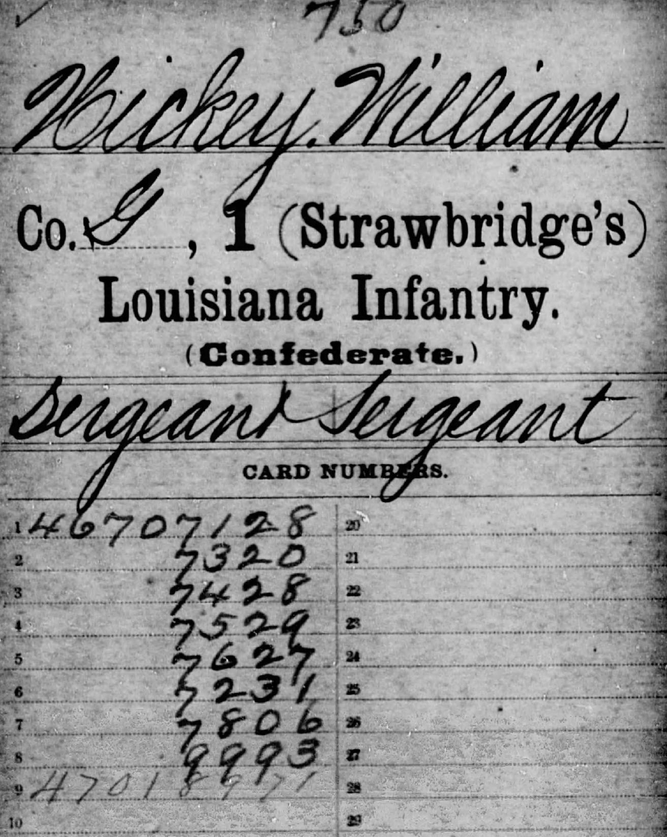 William Hickey's Service Record with the 1st Louisiana Infantry (Fold3.com)