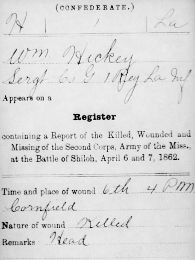 Hickey's death as recorded in his Confederate Service Record (Fold3.com)