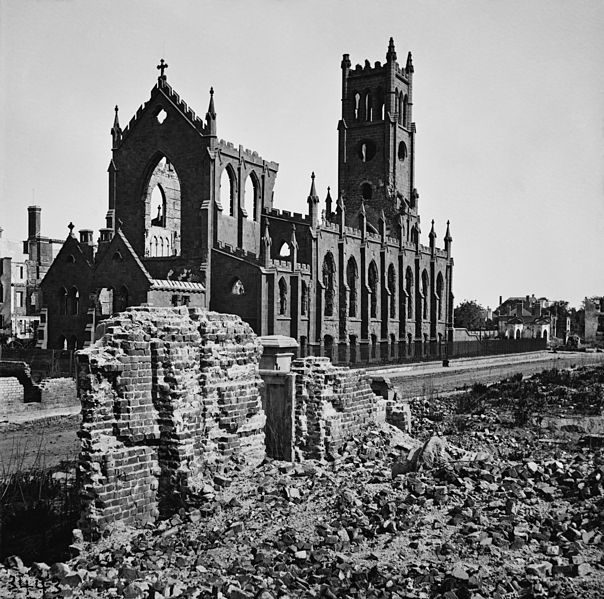 Saint John and Saint Finbar Cathedral, Charleston after it was destroyed by fire in 1861. Patrick and Ann Scanlan's son James was baptised here in 1856 (Library of Congress)