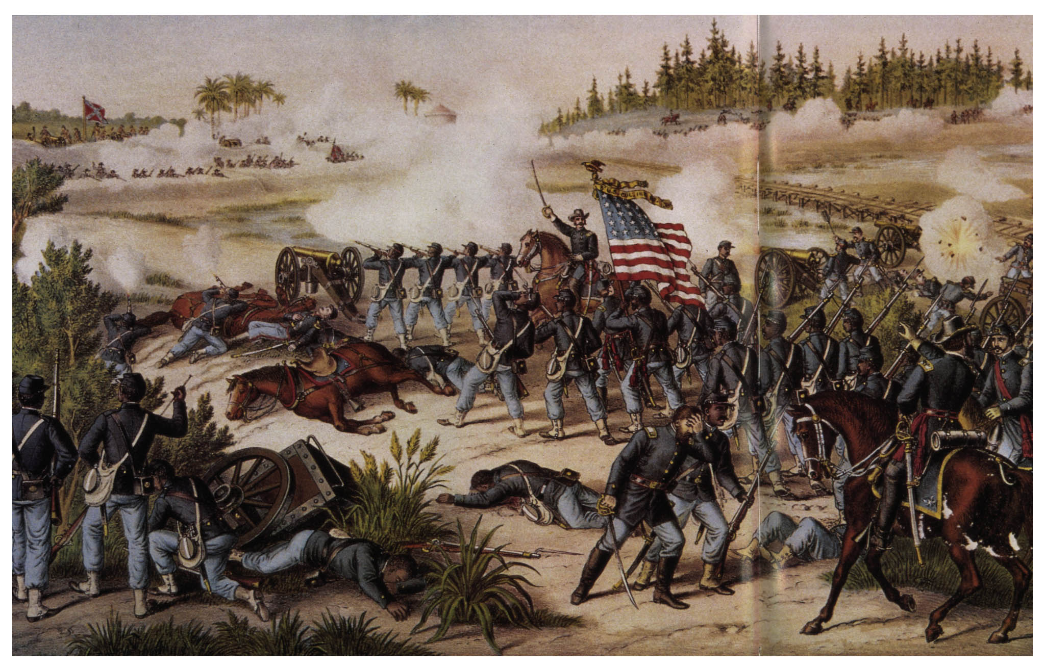 Federal troops go into action at the Battle of Olustee, 20th February 1864 (History of the 8th USCT)