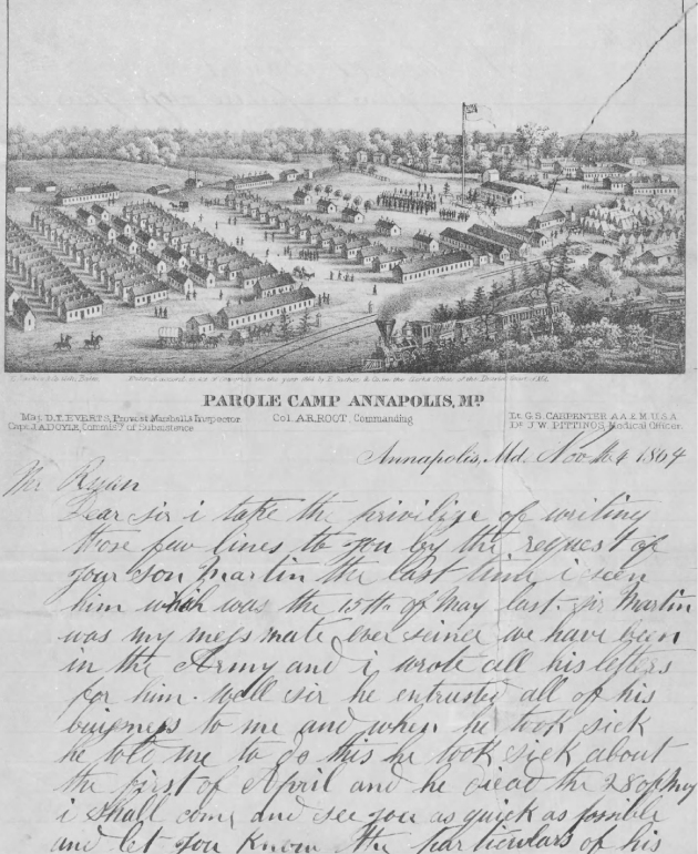 Letter written to the father of Martin Ryan by John Sharkey from the Parole Camp in Annapolis, Maryland (Fold3)