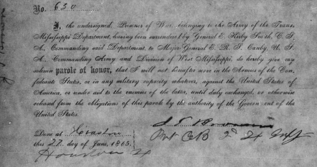 The Parole given by John Browne in Houston at the conclusion of the Civil War (Fold3)