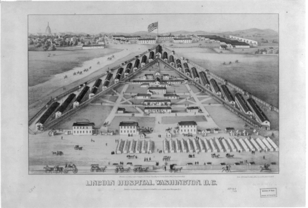 Lincoln Hospital as it appeared during the American Civil War. Corporal Patrick Scanlan died here, and William Duffie wrote from War 10 to inform Ann Scanlan of his last words (Library of Congress)