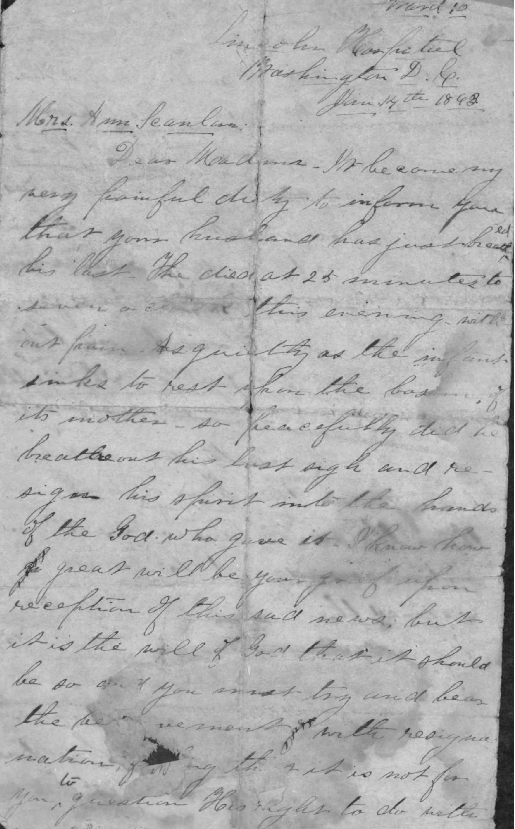 The first page of William Duffie's Letter to Ann Scanlan, informing her of her husband Patrick's death (Fold3)
