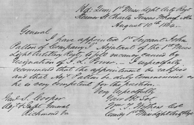 The letter recommending that John Patton be promoted to Adjutant of the 1st Mississippi Light Artillery (Fold3)