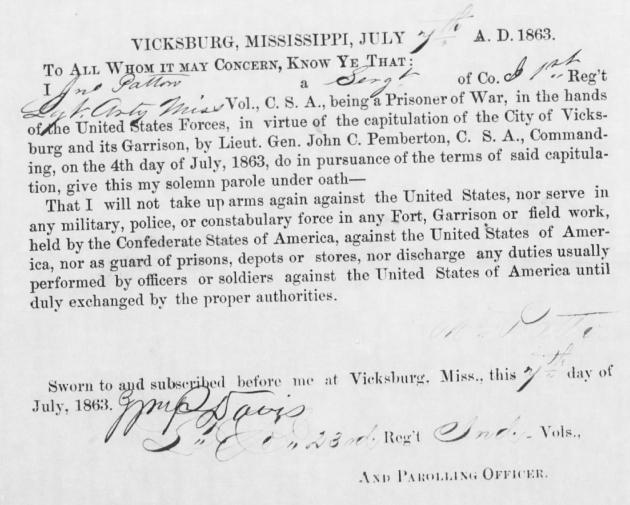 John Patton's Parole following his capture at Vicksburg in 1863 (Fold3)