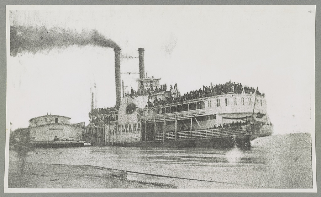 A photograph of the SS Sultana taken the day before she blew up. It is likely that Michael O'Gara is one of the men in this image (Library of Congress)