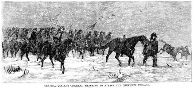 Custer marching towards the Washita, 1868 (Library of Congress)