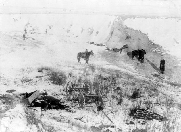 Aftermath of the massacre at Wounded Knee (Library of Congress)