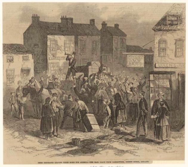 Irish Emigrants Leaving for America from Caherciveen, Co. Kerry, 1866 (New York Public Library Image ID 833634)