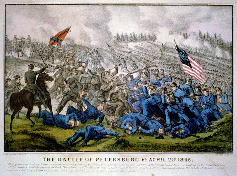 The breakthrough at Petersburg on 2nd April 1865, where Lieutenant Oscar French lost his life (Currier & Ives)