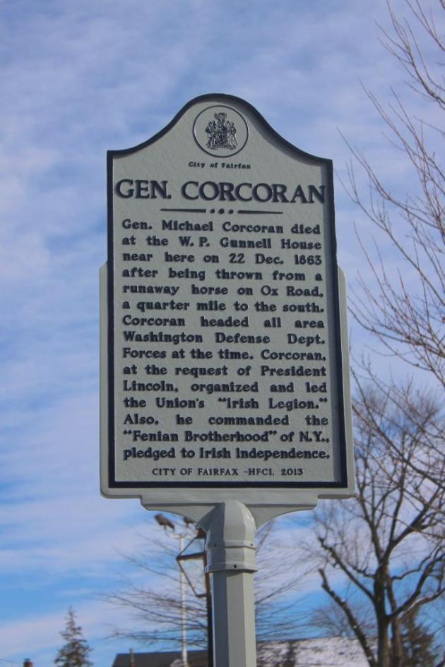 The Marker to Brigadier-General Michael Corcoran in Fairfax, Virginia (Photograph Dave Sullivan)