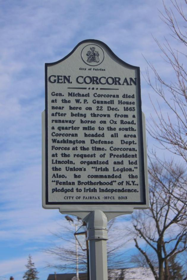 The Marker to Brigadier-General Michael Corcoran in Fairfax, Virginia (Photograph Dave Sullivan)