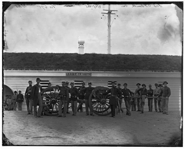 Men of Company K (Mathew's Company), 2nd new York Heavy Artillery at Fort C.F. Smith (Library of Congress)
