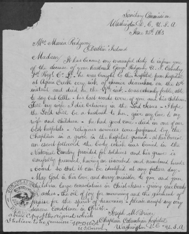 Copy of Letter to Maria Ridgway informing her of her husband's death, 1863 (Fold3)