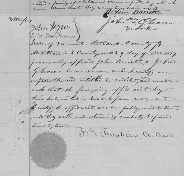 An Extract of the Statements Provided by John Barrett and John Gleason for Timothy Durick (John Barrett could sign his name, John Gleason was illiterate so made his mark- Image via Fold3)