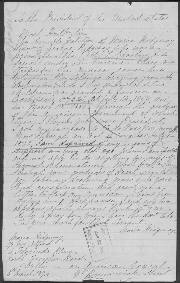 Copy of letter from Maria Ridgway to the President of the United States (Fold3)