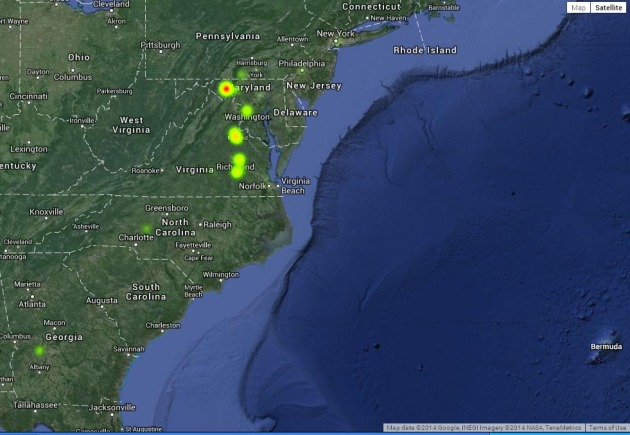 Screenshot of Google Fusion Table Heat Map, showing locations where members of the 63rd New York died or were wounded between 1861 and 1865, highlighting the intensity of losses in different locations