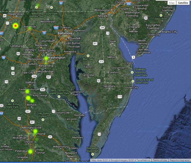 Screenshot of Google Fusion Table Heat Map, showing detail of Virginia, Maryland, Washington D.C. and southern Pennsylvania, and highlighting the major battles where the 63rd New York suffered significant casualties