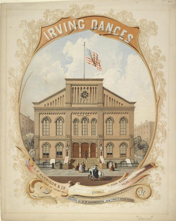 Irving Hall where the Irish Brigade Veterans held their Banquet in January 1864 (New York Public Library Record ID: 1788347)