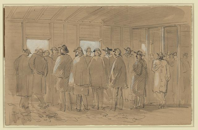 General Butler and his staff observing the action on 27th October 1864, the day Private Colin Cairns was captured (Library of Congress)