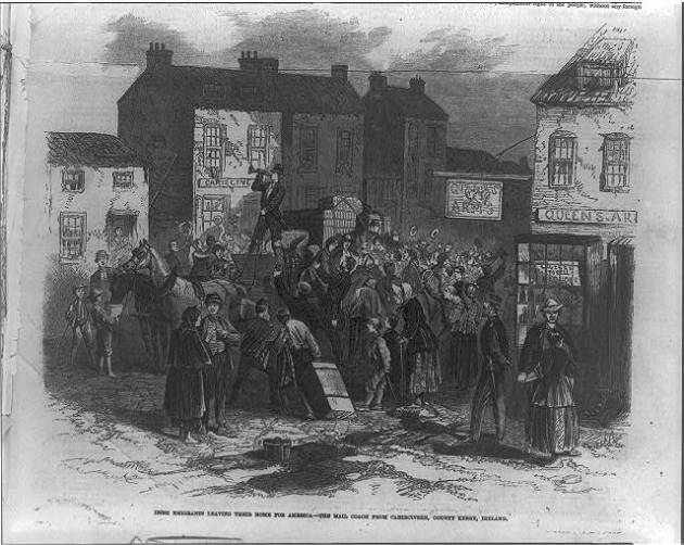 Emigrants in Caherciveen, Co. Kerry on their way to the United States in 1866 (Library of Congress)