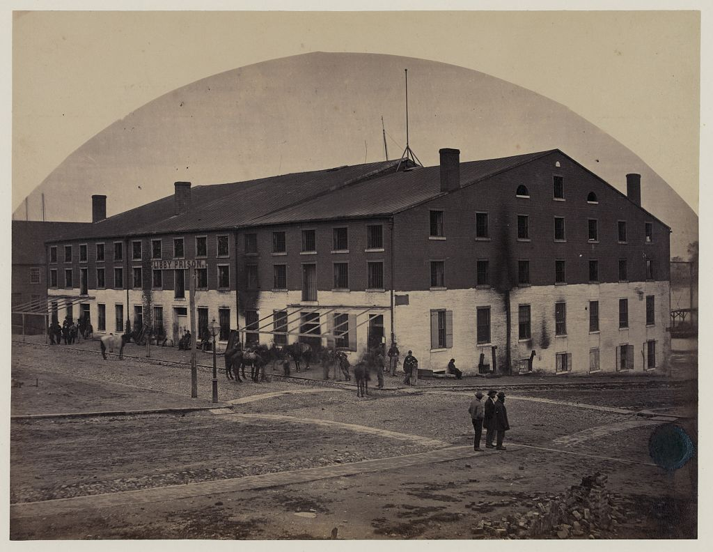 Libby Prison, Richmond in 1865. Colin was imprisoned here prior to his transfer to Salisbury (Library of Congress)