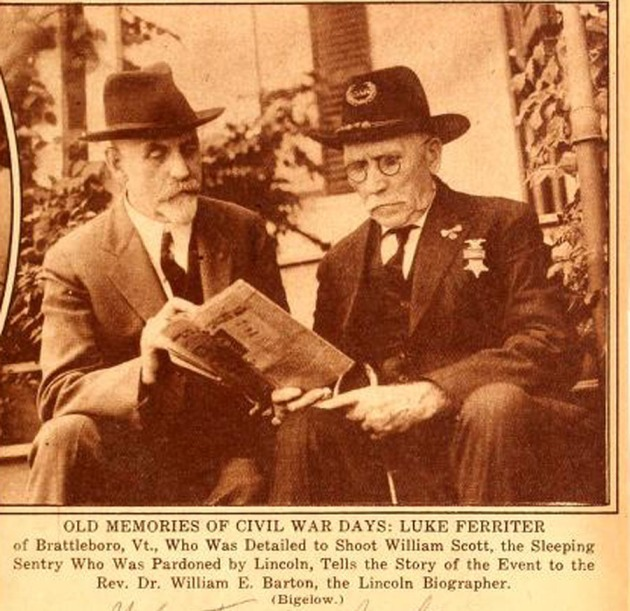 Luke Ferriter (right) discusses the Sleeping Sentinel incident with Rev. Dr. William E. Barton (left) at Brattleboro in 1926 (Reminiscences about Abraham Lincoln)