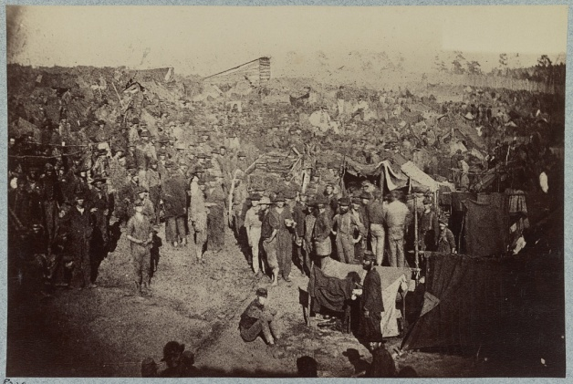 Rations being distributed at Andersonville, Georgia, 1864. This scene is perhaps closer to the type of experience Colin had at Salisbury and Libby (Library of Congress)
