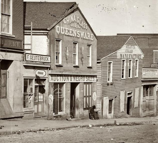 A slave market in Atlanta, Georgia, c.1864 (Library of Congress)