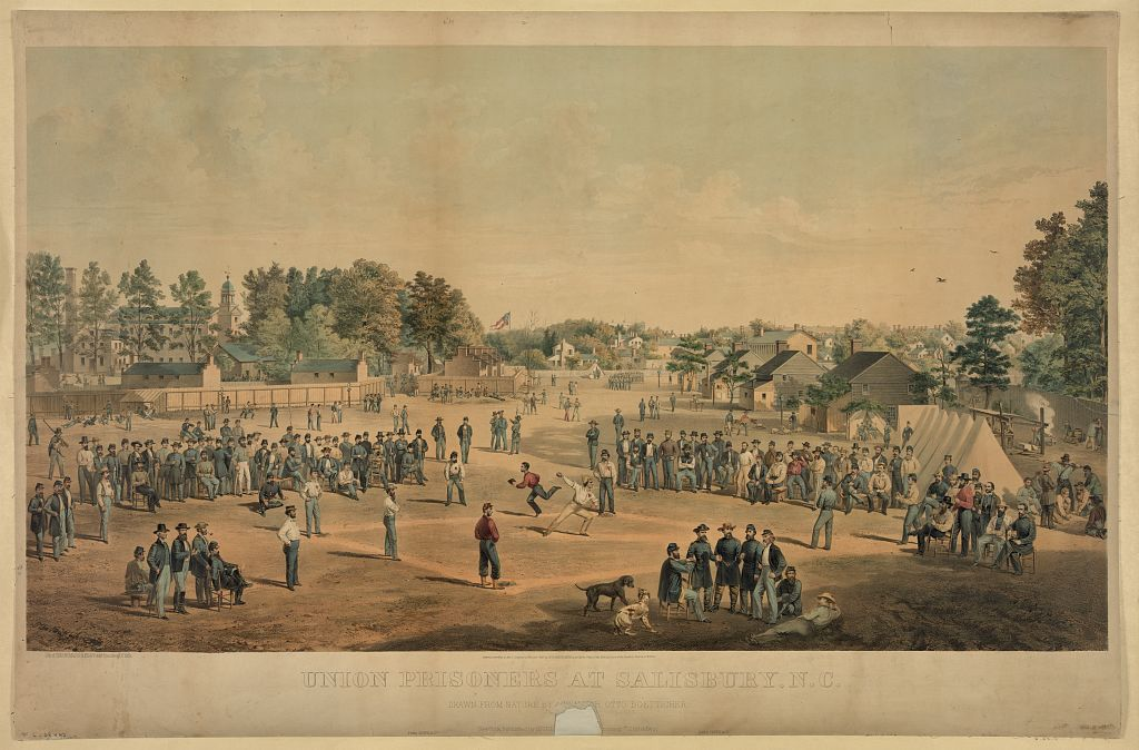 Union Prisoners at Salisbury, North Carolina in 1863. By the time Colin was transferred here shortages and overcrowding had meant scenes such as this were a thing of the past (Library of Congress)