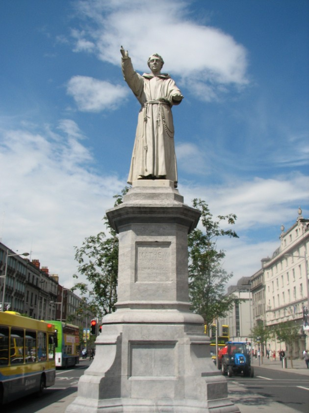 Statue of Father Theobald Mathew on Dublin's O'Connell Street. He founded the Abstinence Movement in Cork in 1838 which spread to the United States. Members took 'The Pledge' to remain sober for life. (Image via Wikipedia)
