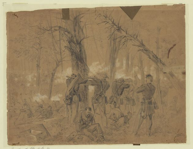 This sketch by Alfred Waud shows men of Kearney's division in action during the Battle of Glendale, June 30th, 1862 (Library of Congress)