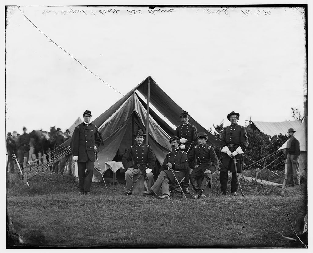 Colonel Robert Nugent and staff in June 1865 (Library of Congress)