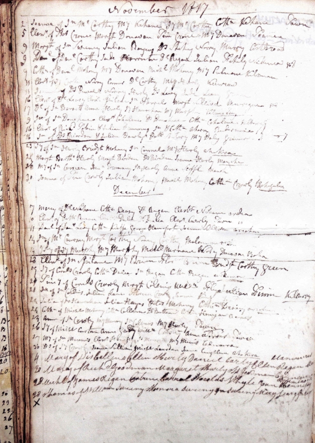 Dunmanway Baptismal record for November and December 1817, with Thomas Sweeny listed at bottom (Pat McCarthy)