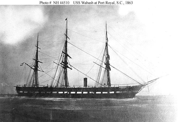 Photograph of the USS Wabash at Port Royal, South Carolina, taken from the deck of the monitor USS Weehawken in 1863. Patrick Finan would have been aboard the vessel when this image was exposed (U.S. Naval Historical Center)