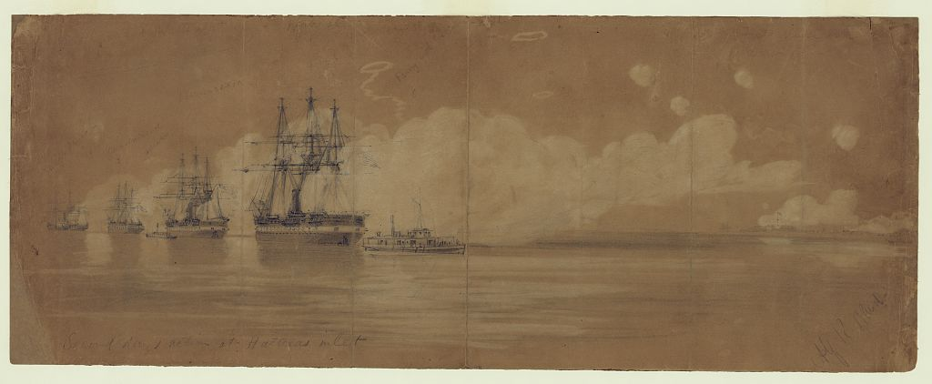 The USS Wabash in action at Hatteras Inlet, North Carolina, in 1861. She is the largest vessel, second from the right (Library of Congress)