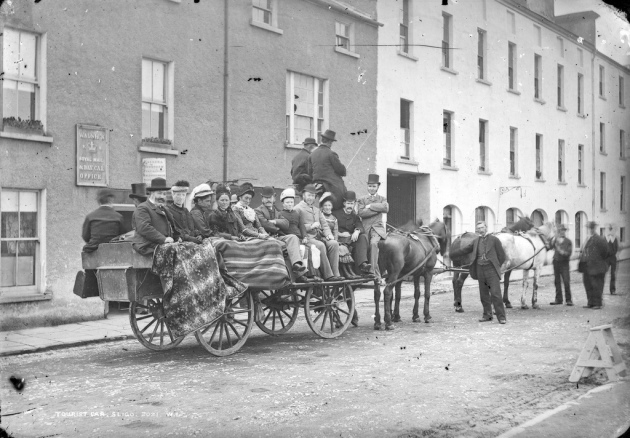 Walsh's Royal Mail and Day Car, Corcoran's Mall, Sligo, c. 1885. This scene would have been familiar to John Finan, who was still alive when it was taken (National Library of Ireland)